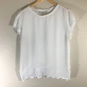 LOFT White Blouse w Lace Detailing